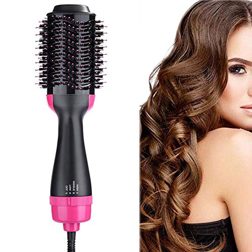 Hot Air Brush, One Step Hair Dryer Styler Volumizer Multi-functional 3-in-1 Salon Negative Ion Hair Straightener & Curly Hair Comb with Anti-Scald Feature(Pink Black)