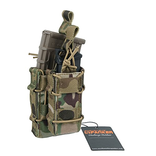 Excellent Elite Spanker Tactical MOLLE Double Stacker M4 Mag Pouch with Pistol Mag Pouch(Muliticam)