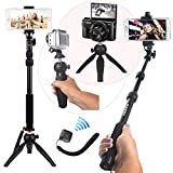 HEAVY DUTY Premium Selfie Stick Tripod Stand Best 4-in-1 Kit + Bluetooth Remote ZUUMO - Universal Set: For ANY iPhone, Android, GoPro, Camera - iPhone X 8 7 6 S Plus Samsung Galaxy S9 S8 S7 S6 S5 Note