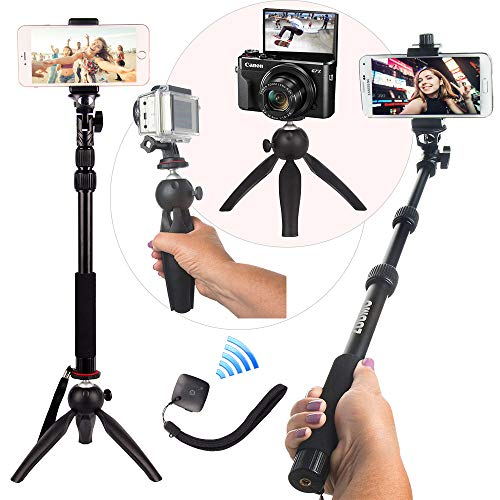 HEAVY DUTY Premium Selfie Stick Tripod Stand Best 4-in-1 Kit + Bluetooth Remote ZUUMO - Universal Set: For ANY iPhone