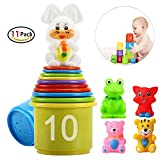 eyscar Stacking Cups Early Educational Toddlers Toy Bathtub Toys with Numbers & Animals Game for Kids Baby Child 11 Pack
