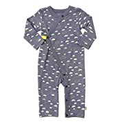 Finn + Emma Organic Cotton Coverall Jumpsuit for Baby Boy or Girl - Cloudy Sky, 6-9 Months
