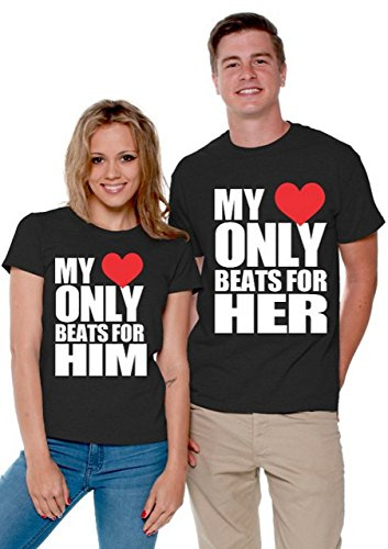 My Heart Only Beats for Him & Her Matching Couple Shirts with 2 Bookmarks, Men Large / Ladies X-Large