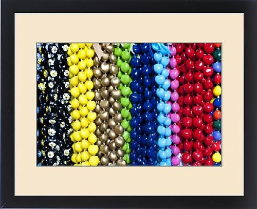 Framed Print of Hawaiian lei or necklaces display at market place by Fine Art Storehouse