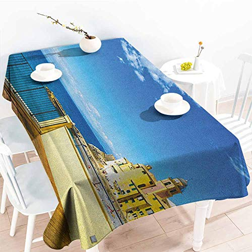 - Tablecloth,Italian Camogli Building Sea Lamp and Balcony Tourist Spot in Ligury Italy Print,Party Decorations Table Cover Cloth,W60X90L Blue White and Yellow