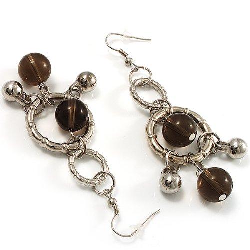 Boucles d'Oreille Pendantes Perles Ton Argent