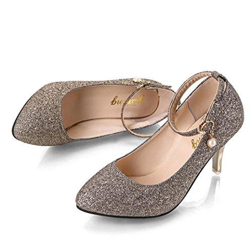 Zapatos Chic con Tacón 2018 Cuña Vestir de Colgantes Vestir Lentejuelas de Dorado Fiesta Hebilla Moda Baratos Zapatos Casual con Talla Grande Aguja Alto PAOLIAN Calzado de Dama de Otoño Uxqa5wAaS