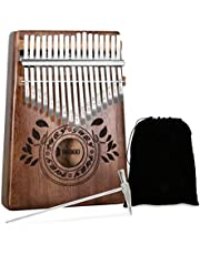 UNOKKI Mahogany Kalimba 17-Key Thumb Piano with Instruction Book and Tuning Hammer – Portable Personal Musical Instrument for Kids and Adults, Beginners to Professionals