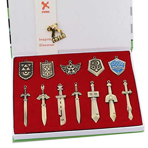 Xcoser Exquisite Mini Metal Shield & Sword Weapons Necklace Keychain Gifts Set 12pcs