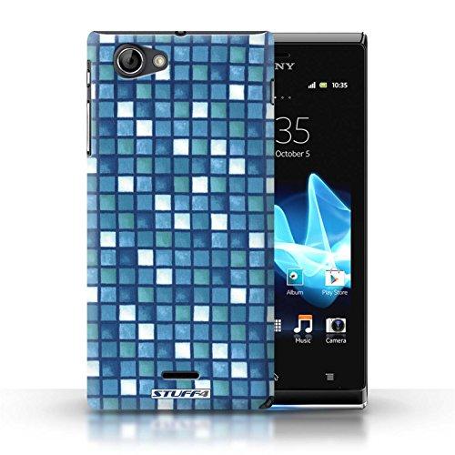 Etui / Coque pour Sony Xperia J (ST26i) / Bleu/Blanc conception / Collection de Carreau Bain