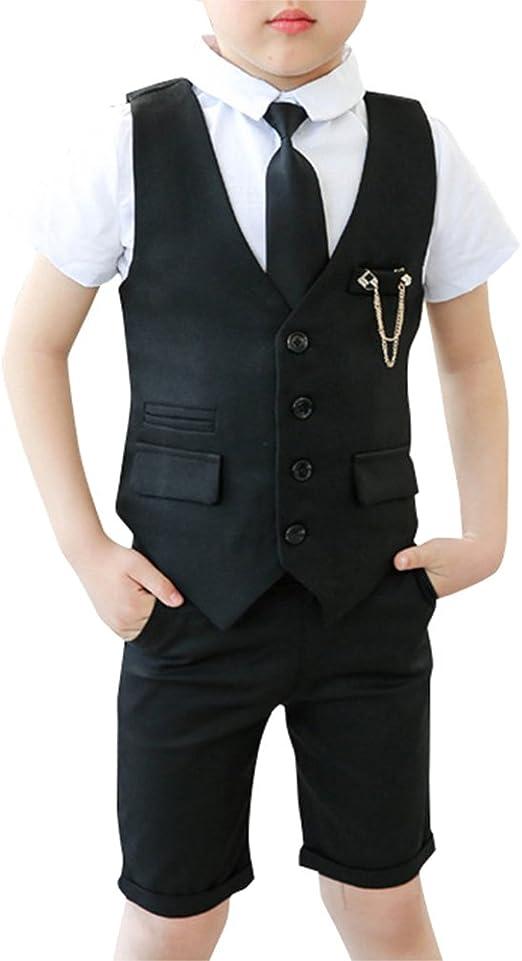 3 Piezas Traje Conjunto para Niño Chaleco+ Camisa Manga Corta + Pantalones Cortos + Corbata: Amazon.es: Ropa y accesorios