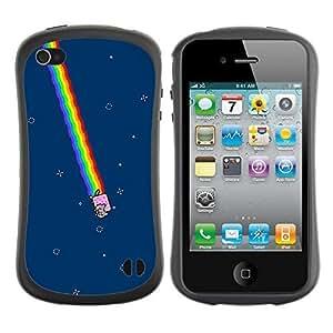 Hybrid Anti-Shock Bumper Case for Apple iPhone 4 4S / Space Toast Cat MEME LOL
