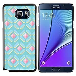 Caucho caso de Shell duro de la cubierta de accesorios de protección BY RAYDREAMMM - Samsung Galaxy Note 5 5th N9200 - polígono modelo lindo gema azul rosa
