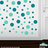 Set of 30 - Turquoise / Mint Green Circles Polka Dots Vinyl Wall Graphic Decals Stickers