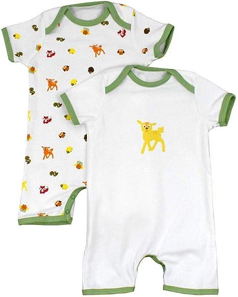 Pelele de bebé de 100% algodón para el verano para niños y niñas con motivos de impresión en un paquete doble. Waldtiere Talla:68: Amazon.es: Bebé