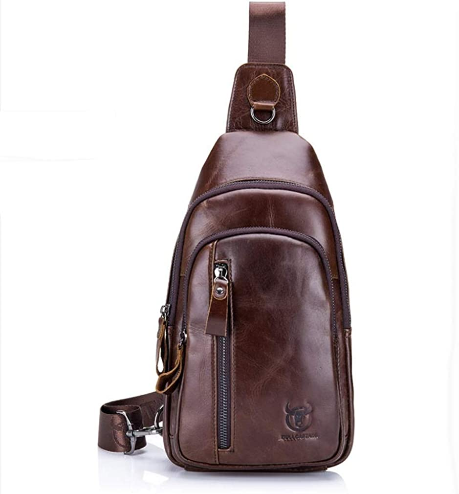 Leather Sling Bag Hiking Daypack for Men Women Outdoor Travel Camping Fishing Crossbody Shoulder Chest Pack Backpack