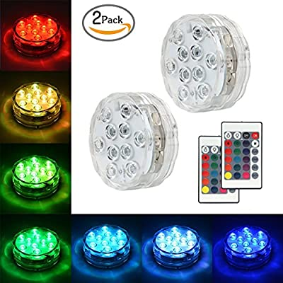 Submersible LED Lights Underwater Vase Light Remote Control RGB Multi Color Changing Waterproof Candle Diving Light for Event Party and Home Decoration 10 LED