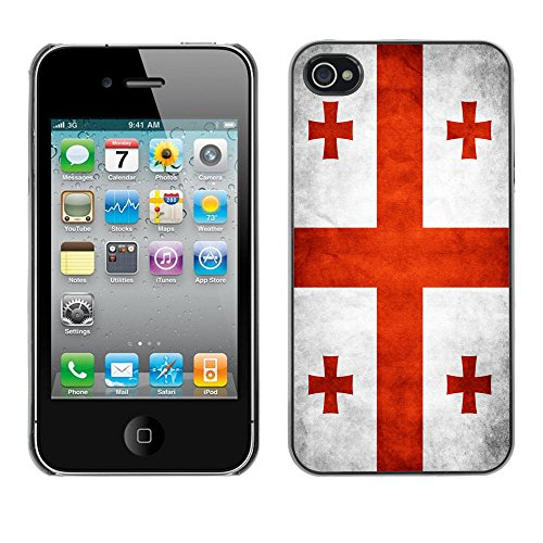 Omega Case PC Polycarbonate Cas Coque Drapeau - Apple iPhone 4 / 4S ( Georgia Grunge Flag )