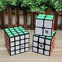 GoodPlay Moyu Black Bundle Pack Puzzle 2x2x2 3x3x3 4x4x4 Speed Cube puzzle --Set of 3(Include Moyu Lingpo 2x2, Moyu Aolong V2 3x3, Moyu Aosu 4x4 )+Three Cube Bags