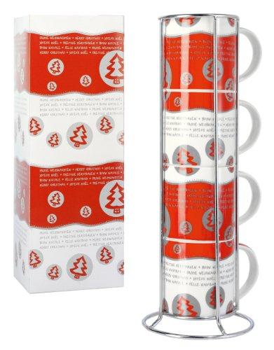 sigel zb454 weihnachts tassen 4er set inkl tassenhalter. Black Bedroom Furniture Sets. Home Design Ideas
