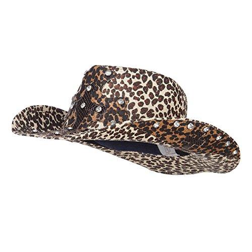 [Cross Stones Detailed Cowboy Hat - Leopard M-L] (Leopard Cowboy Hat)