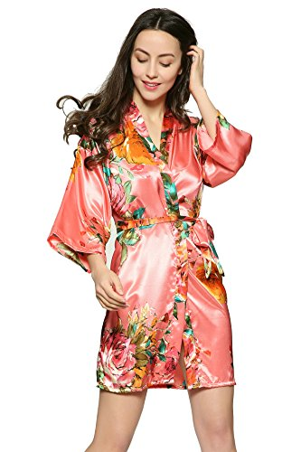 Zarachilable Large floral Satin floral robe,women lady bride robe bridesmaid robe night robe (S/M, coral)