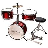 Spectrum Ail 621R 3-Piece Junior Drum Set with 8-Inch Crash Cymbal and Drum Throne, Rockstar Red