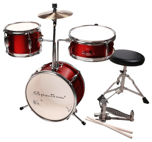 Spectrum AIL 621R 3-Piece Junior Drum Set with 8-Inch Crash Cymbal and Drum Throne, Rockstar Red by Spectrum