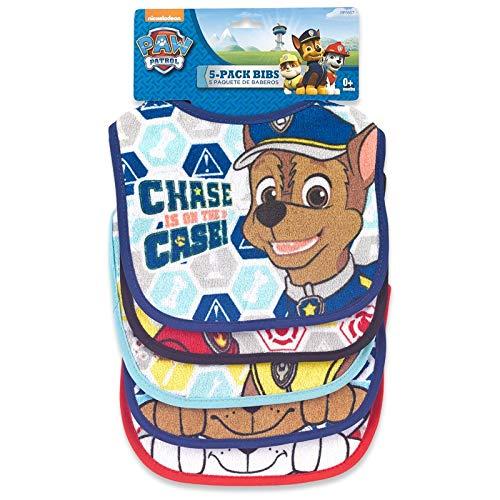 Paw Patrol Baby Boy Bib Set of 5 Chase Marshall Rubble Hook Loop Closure Multicolors, one Size