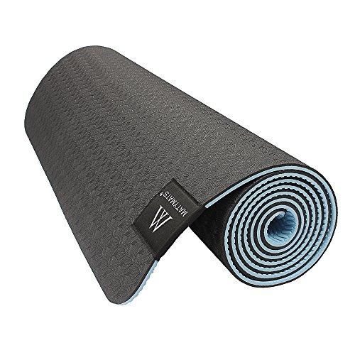 "Matymats Non Slip TPE Yoga Mat with Carry Strap for Pilate Gymnastics Bikram Meditation Towel High Density Thick 1/4'' Durable Mat 72""24"" Eco Safe Non Toxic"