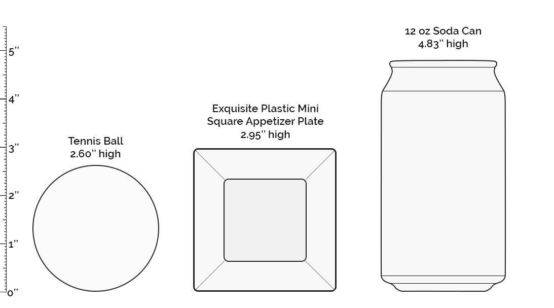 Exquisite Plastic Mini Square Appetizer Plates - 100 Ct Square plastic Dessert Plates - 2.95 Inch. x 2.95 Inch. (Clear) by Exquisite (Image #2)