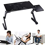 (US STOCK) Keland Adjustable Foldable Computer Desk, 360 Degree Portable Laptop Table Stand with Mouse Board and Fan,Standing Computer Desk for Bed/Couch/Sofa/Floor