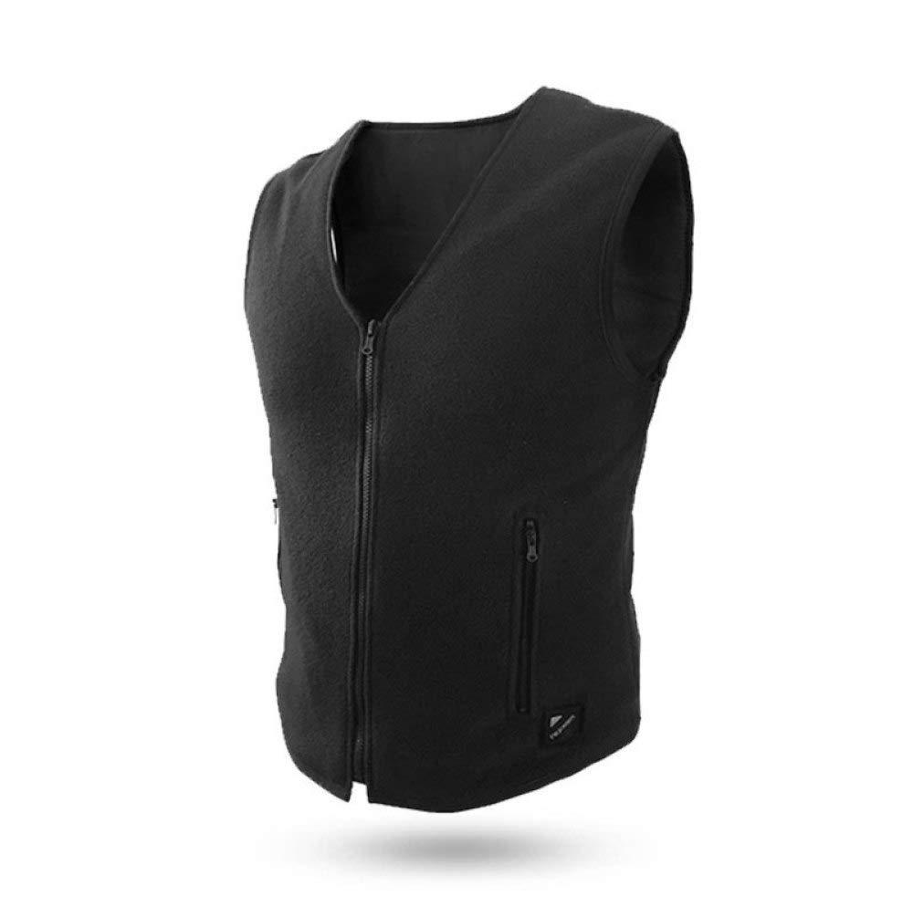 DZX Elektrische Warme Kleidung/Heizung Weste,Smartphone Control - Für Outdoor-Reisen Camping Bike Skifahren (Unisex/Schwarz),Men-XL