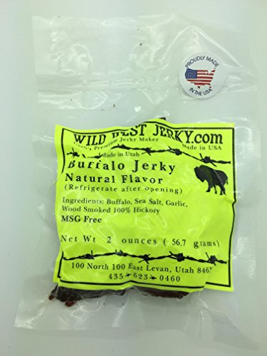 #1 BEST Premium 100% Natural Grass Fed Hand Stripped 2 OZ. Thick Cut Delicious Tasty Bold Flavor Buffalo Jerky – Wood Smoked by Wild West Jerky (Natural, Buffalo Natural 1 ()
