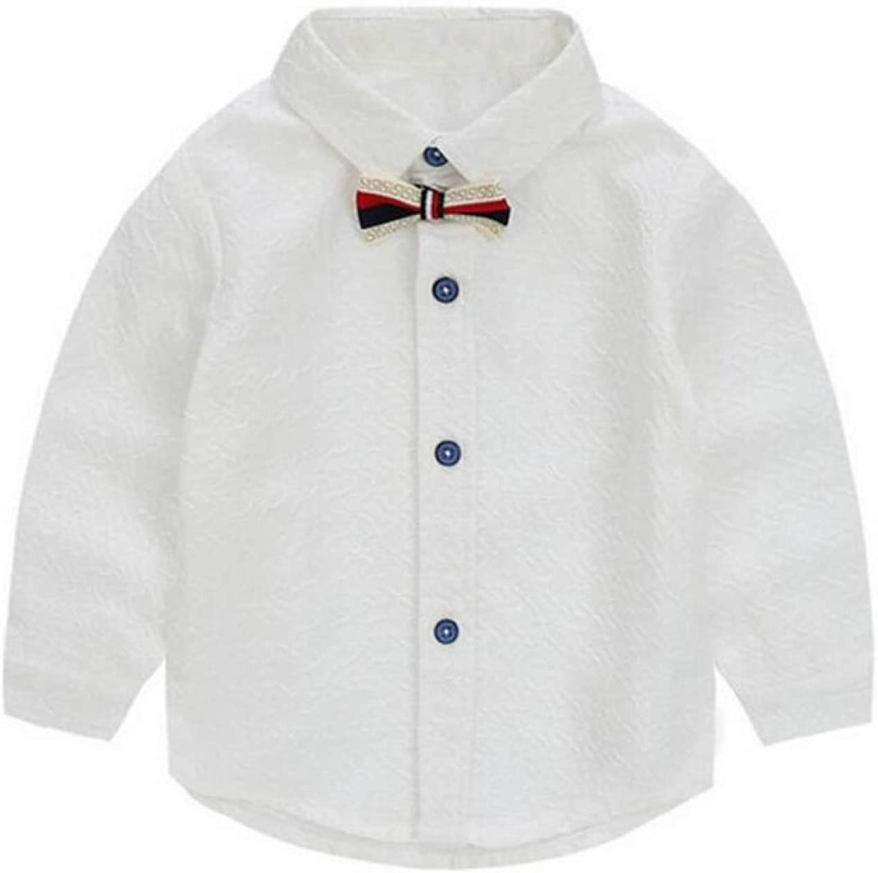 ZGJQ Chicos Camisa Blanca Pura De Un Niño Salvaje Lazo Camiseta De Manga De La Chaqueta De Primavera Camisa De Cuello De La Camisa Y El Otoño, White-120cm: Amazon.es: Ropa y accesorios