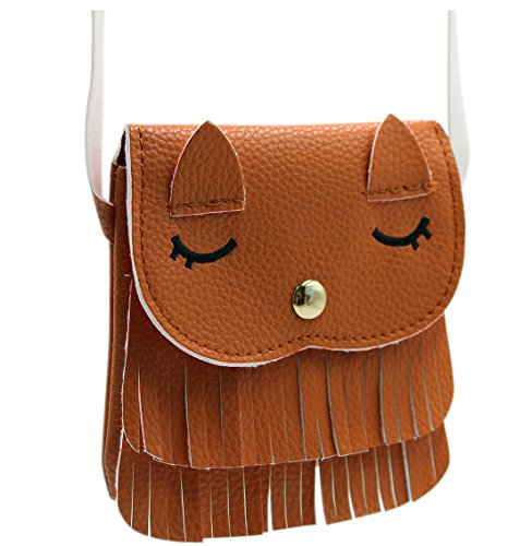 ZGMYC Cat Tassel Shoulder Bag Small Coin Purse Crossbody Satchel for Kids Girls,Brown(Small)