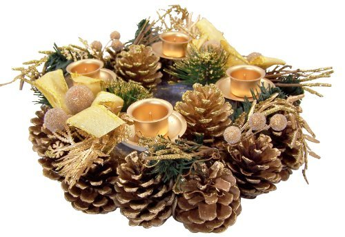 Taper Pinecone (Gold Glitter Pine Cone with Ribbon Advent Candle Holder Wreath Seasonal Decoration)