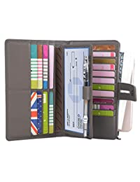 Yaluxe Women's RFID Blocking Leather Large Capacity Wallet with Removable Checkbook Holder Grey