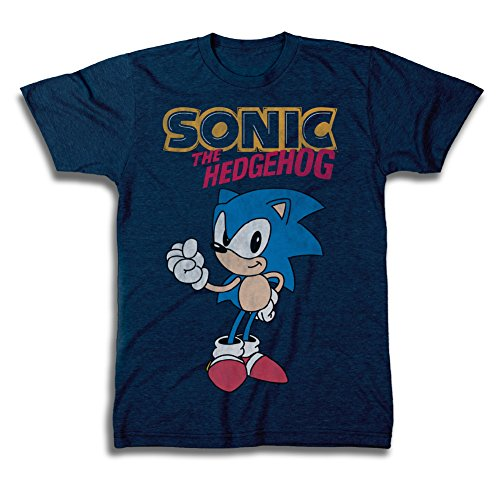 Sega Official Sonic The Hedgehog Shirt - The Fastest Thing Alive - The Blur Blur - Official T-Shirt (Navy Heather, Small)