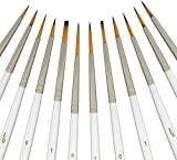 Paint Like Pro Canvas Acrylic Painting Artists with Pearl White, Nylon Hair Paint Brush Sets - Perfect for Precise Details, Miniature, Crafts - Ideal for Acrylic, Oil & Watercolor , 12 pcs by Xpassion