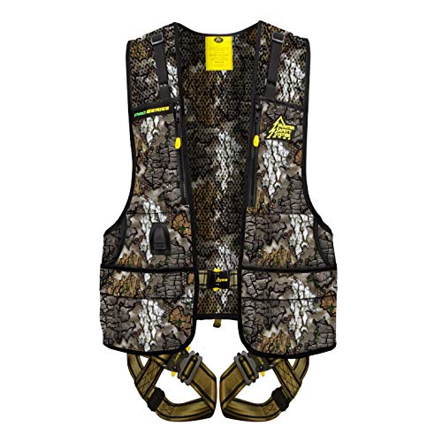 HUNTER Safety System Pro Series Camo ElimiShield Scent Blocking Deer Hunting Treestand Safety Harness Vest, Large/XL