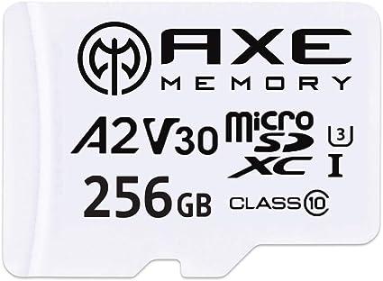 AXE Tarjeta de memoria microSDXC de 256 GB + adaptador SD con rendimiento de aplicación A2, V30 UHS-I U3 4K Class 10 - AXS2A256: Amazon.es: Informática