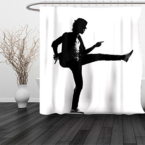 HAIXIA Shower Curtain Michael Jackson King of Pop Music Iconic Singer Dancing Legendary Talent Artist Black and White