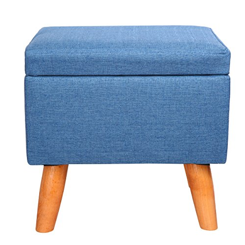 Eshow Square Footstools Wood Storage Stool Rectangular Seat Cube Organizer Home Furniture Ottomans Upholstered Ottoman Foot Stool Handmade Blue (Footstools Sale For Upholstered)