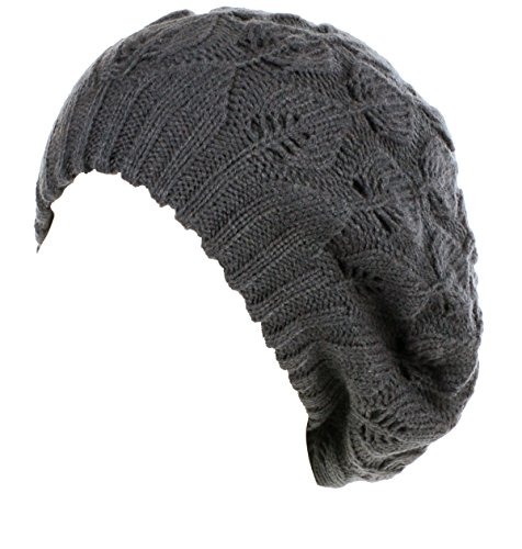 BYOS Winter Chic Warm Double Layer Leafy Cutout Crochet Knit Slouchy Beret Beanie Hat (Charcoal Gray Leafy) ()
