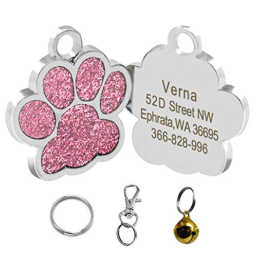 Didog Bling Bling Paw Print Pet ID Tags for Small Dogs and Cats,Personalized Engraving,Pink -