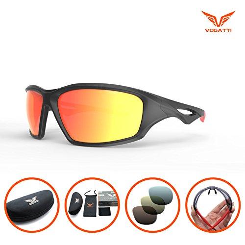 Vogatti Polarized Sports Sunglasses for Fishing Baseball Golf Running Cycling Glasses (C3 Matt Black, - Fit Cheap Asian Sunglasses