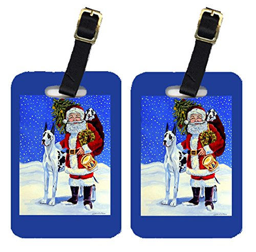 (Caroline's Treasures 7083BT Pair of 2 Harlequin Great Dane with Santa Claus Luggage Tags, Large, multicolor)