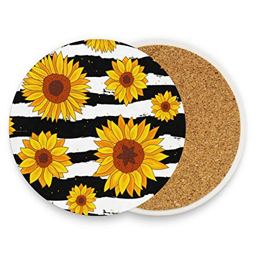 Sunflowers Stripes Coasters, Prevent Furniture From Dirty And Scratched, Round Drink Coasters Set Suitable For Kinds Of Mugs And Cups, Living Room Decorations Gift 1 Piece