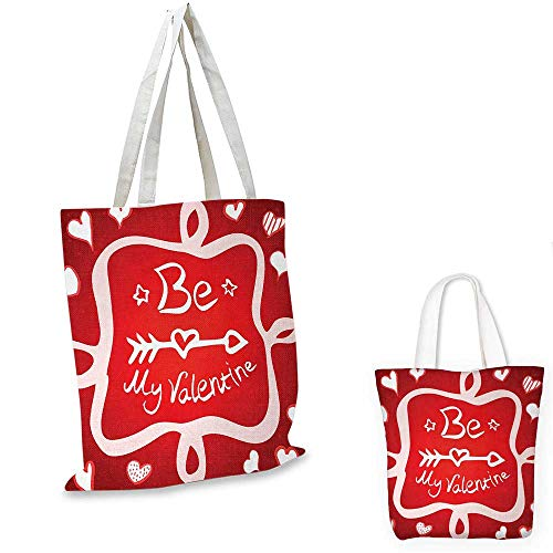 Romantic ultralight shopping bag Traditional Greeting Card Design with Abstract Heart Shapes and an Ethnic Arrow pocketable shopping bag Scarlet White. 12